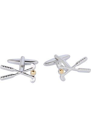 shaze Silver-Toned Quirky Hockey Stick Cufflinks