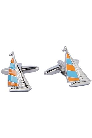 shaze Silver-Toned & Blue Quirky Sail Boat Cufflinks