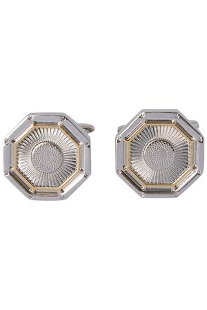 shaze Silver-Toned & Gold-Toned Geometric Octagon Cufflinks