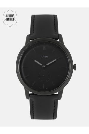 Fossil Men Black Leather Analogue Factory Serviced Watch FS5447I_FSS