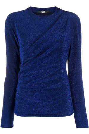 Karl Lagerfeld Draped lurex knit top