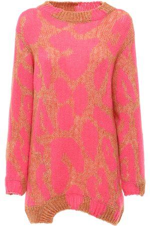 Stella McCartney Leopard Intarsia Knit Wool Blend Sweater