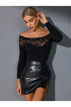 YOINS Black Lace Patchwork Off The Shoulder Long Sleeves Tee