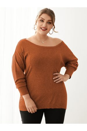 YOINS Plus Size Round Neck Long Sleeves Sweater