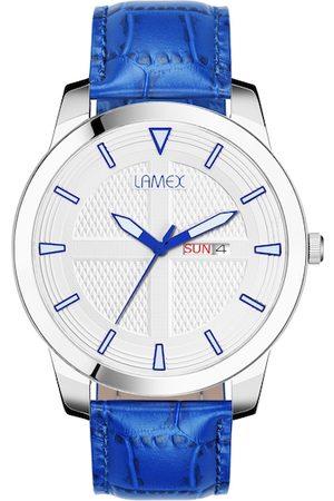 Lamex Men Watches - Men White & Blue Analogue Watch 10519-PHONIXDLX-SS