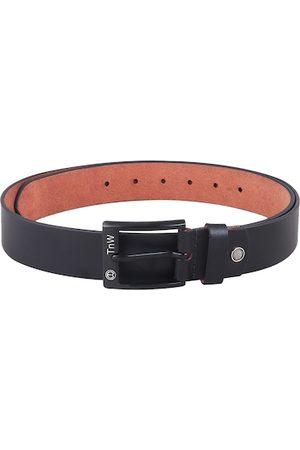 TnW Men Black Solid Leather Belt