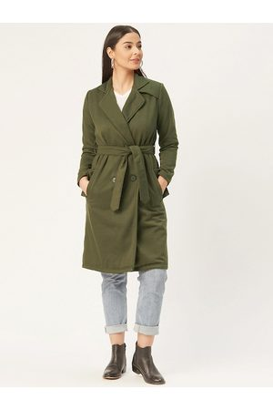 Alsace Lorraine Paris Women Olive Green Solid Double-Breasted Trench Coat