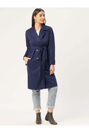 Alsace Lorraine Paris Women Navy Blue Solid Double-Breasted Longline Trench Coat