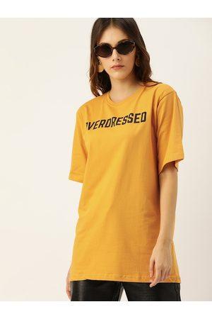 DILLINGER Women Mustard Yellow Printed Round Neck Longline Oversized T-shirt
