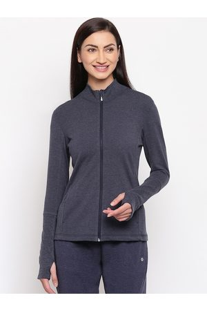 ENAMORA Women Navy Blue Solid Lightweight Tailored Jacket