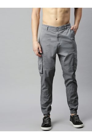 HERE&NOW Men Grey Regular Fit Solid Cargo Joggers