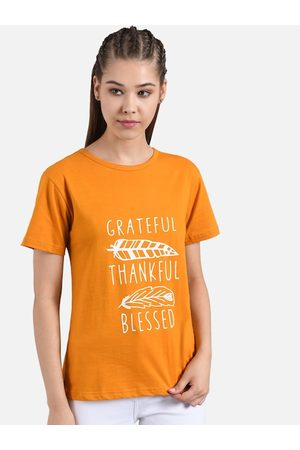 KOTTY Women Orange Printed Round Neck T-shirt