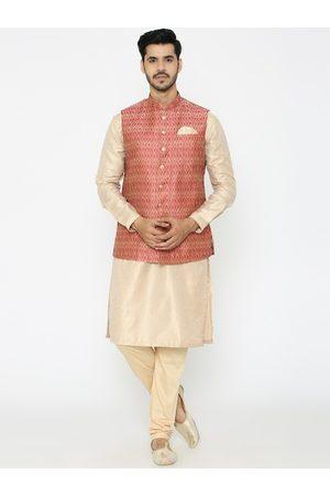 Manyavar Men Pink & Beige Self Design Kurta with Churidar & Nehru Jacket