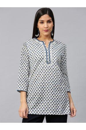 Bhama Couture Women White & Navy Blue Printed Straight Kurti