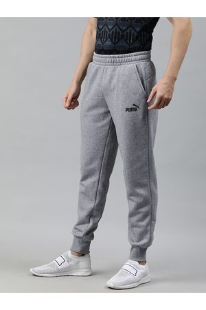 PUMA Men Grey Solid Straight Fit ESS Logo Pants FL cl Joggers