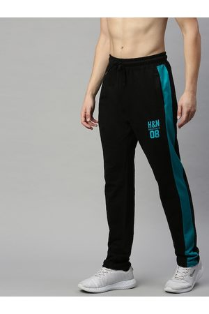 HERE&NOW Men Black & Teal Blue Printed Straight Fit Track Pants