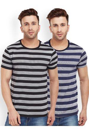 VIMAL JONNEY Men Pack of 2 Striped Round Neck T-shirts