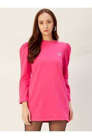 Sera Women Pink Solid Longline Sweatshirt