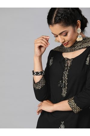 Ishin Women Black & Gold-Toned Embroidered Kurta with Palazzos & Dupatta
