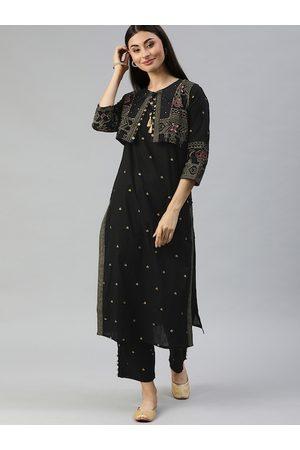 Ishin Women Black & Gold-Toned Printed Kurta with Trousers