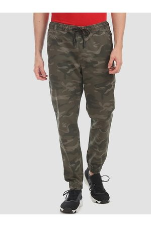 Aeropostale Men Olive-Green & Brown Camouflage Printed Straight-Fit Joggers