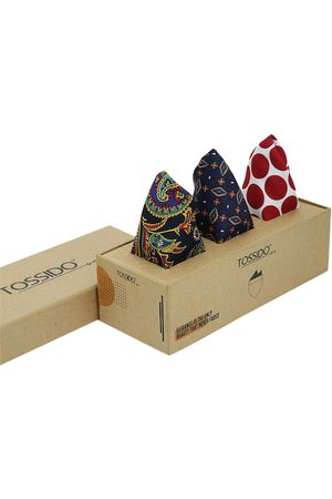 Tossido Men Pack of 3 Multicoloured Printed Pocket Squares