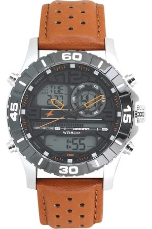 Fastrack Men Grey & Tan Analogue and Digital Watch