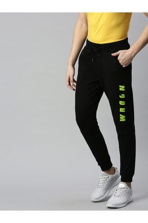 WROGN Men's Black and Green Printed Track Pants