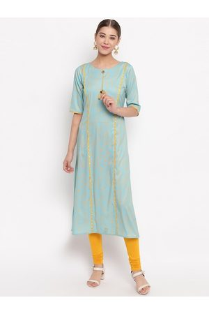 Janasya Women Turquoise Blue & Yellow Printed Straight Kurta