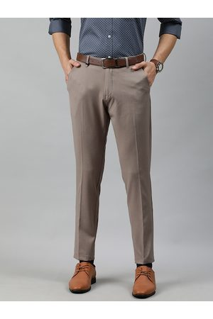 Louis Philippe Ath.Work Men Beige Comfy Tapered Fit Solid Formal Trousers