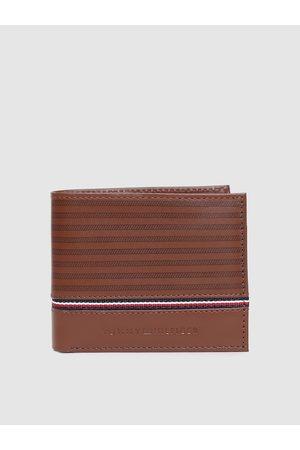 Tommy Hilfiger Men Brown Striped Genuine Leather Two Fold Wallet