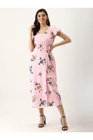 U&F Women Pink & Green Floral Print Wrap Dress