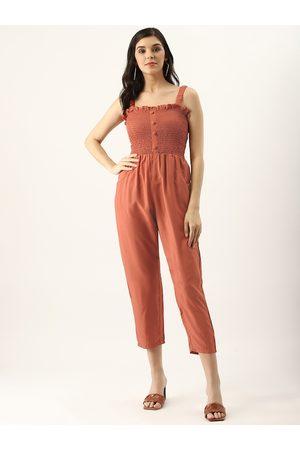 U&F Women Rust Orange Smoked Bodice Solid Basic Jumpsuit