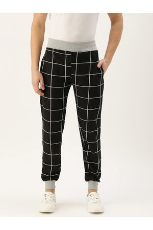 Rodzen Men Black & Grey Melange Checked Straight Fit Casual Joggers
