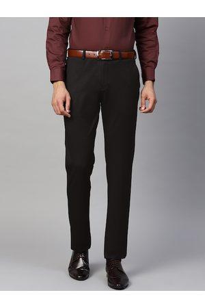 Blackberrys Men Black Skinny Fit Self Design Formal Trousers