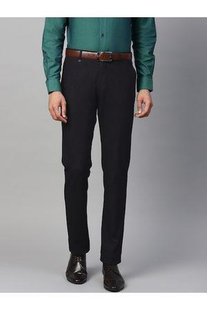 Blackberrys Men Navy Blue Skinny Fit Self Design Formal Trousers