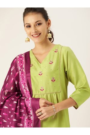 Varanga Women Lime Green & Purple Embroidered Kurta with Palazzos & Dupatta