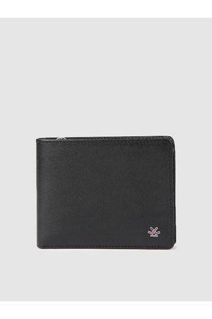 WROGN Men Black Solid Leather Two Fold Wallet