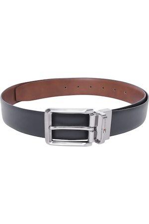 Tommy Hilfiger Men Navy Blue & Tan Brown Leather Reversible Solid Belt