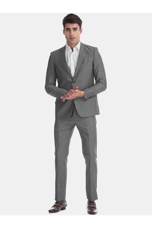 Arrow Men Grey Solid Single-Breasted Formal Suit