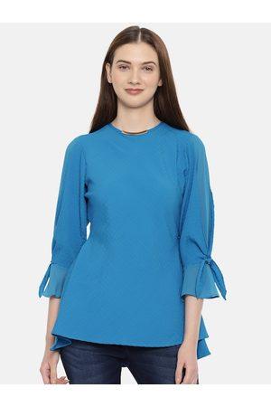 Park Avenue Women Blue Solid Top