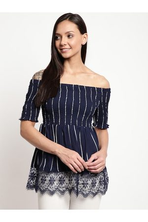 Mayra Women Blue Striped Bardot Top