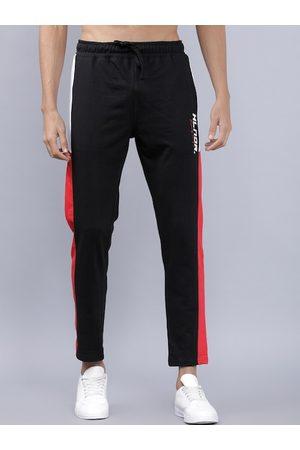 Highlander Men Black & White Colourblocked Slim-Fit Track Pants