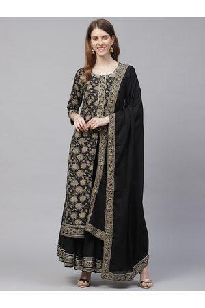 Ishin Women Black & Beige Gotta Patti Floral Foil Printed High Slit Kurta Set