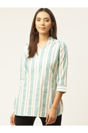 Cottinfab Women Off-White and Sea Green Striped Longline Top
