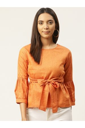 Cottinfab Women Orange Solid A-Line Top