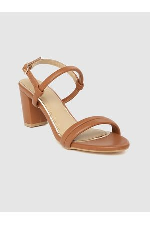 Corsica Women Tan Brown Solid Block Heels