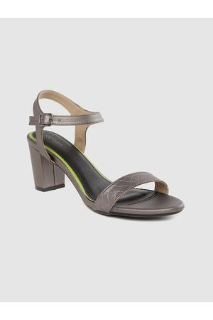 Corsica Women Gunmetal-Toned Textured Block Heels