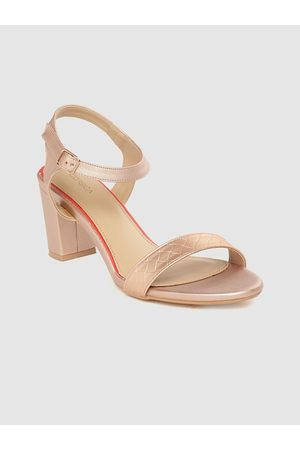 Corsica Women Rose Gold-Toned Textured Block Heels