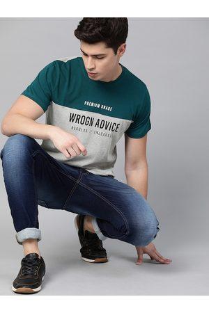 WROGN Men Grey & Teal Blue Colourblocked Slim Fit Round Neck T-shirt